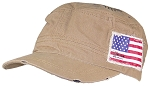 David & Young Mens Strapback Newsboy/Cadet Hat W/American Flag
