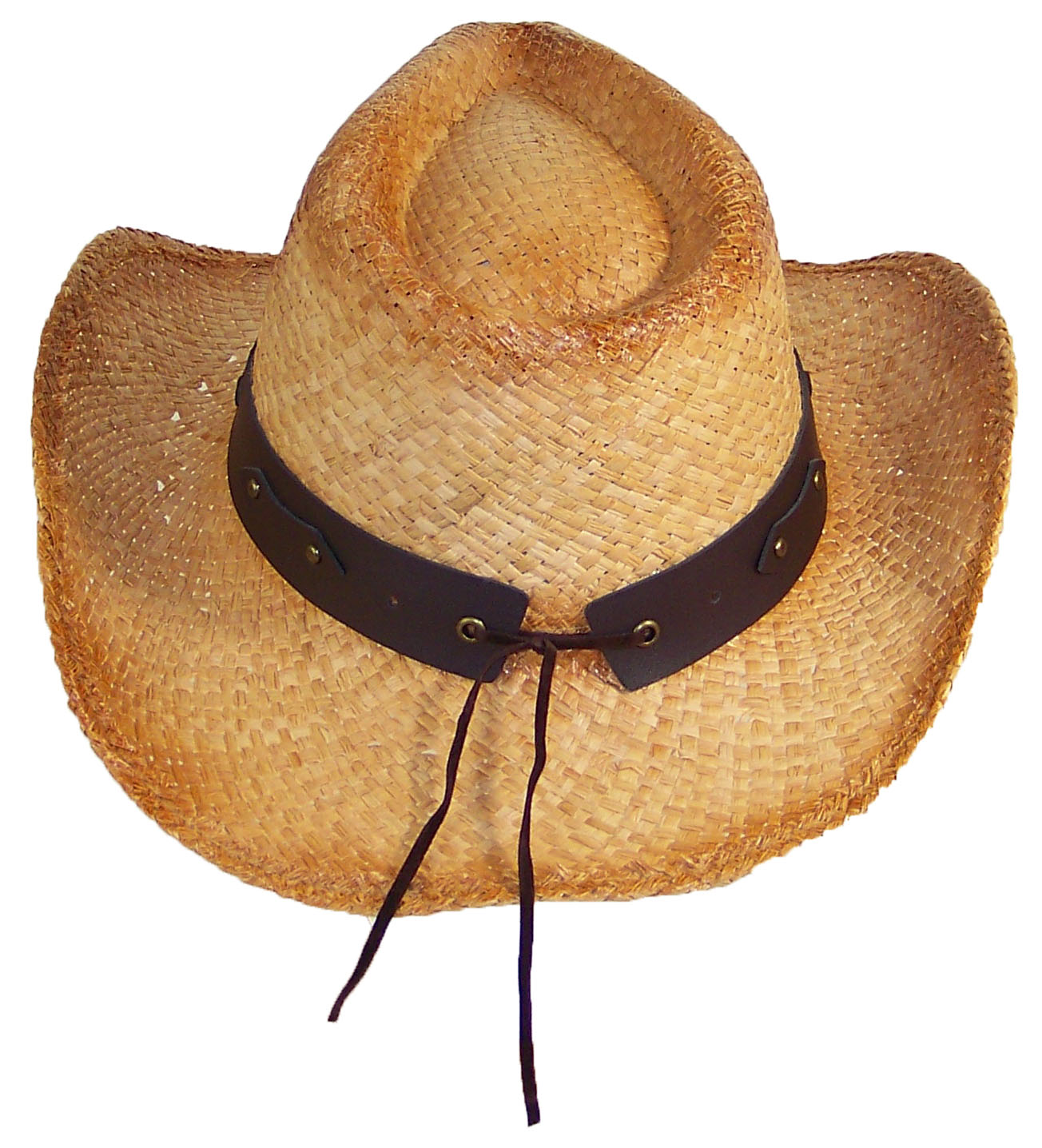 bb76a75d2 Stone Age Adult Straw Cowboy Hat W/Band W/Large Metal Longhorn