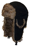 Best Winter Hats Solid Color Nylon Russian/Trapper W/Soft Faux Fur Hat