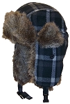Angela & William Adult Plaid Russian/Trapper Winter Hat w/Soft Faux Fur