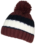 Best Winter Hats Boys Striped Fleece Lined Pom Pom Cuffed Beanie