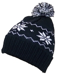 Angela & Williams Little Boys Cuffed Snowflake Pom Pom Beanie
