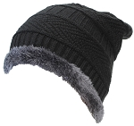 Best Winter Hats Adult Insulated Stockinette Knit Beanie W/Faux Fur Liner