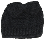 Best Winter Hats Womens Crochet Messy Bun/Ponytail Beanie W/Large Bow
