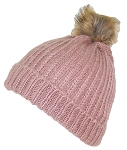 Best Winter Hats Cuffed Rib Knit Beanie W/Soft Faux Fur Pom Pom (Small)