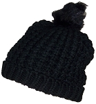 Angela & William Womens Rib Knit Hat W/Soft Lining & Pom Pom