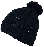Best Winter Hats Thick Cuffed Cable & Rib Knit Beanie W/Pom Pom