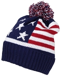 Best Winter Hats Adult American Flag Cuffed Knit Beanie W/Pom Pom