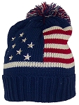 Best Winter Hats Adult American/Americana Flag Cuffed Knit Beanie W/Pom Pom
