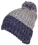 KJ Thick Adult Stockinette Knit Cuffed Beanie W/Pom Pom (L/XL)