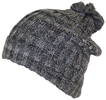 David & Young Womens Cuffed Knit Winter Beanie Hat W/Pom Pom on Top & Metallic Yarn