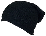 David & Young Womens Textured Knit Winter Slouchy Hat W/Rolled Edge