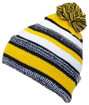 Best Winter Hats Quality Striped Variegated Cuffed Hat W/Large Pom