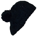 Papillon Hand Knit Solid Color Cable Knit Winter Beret W/Large Pom Pom