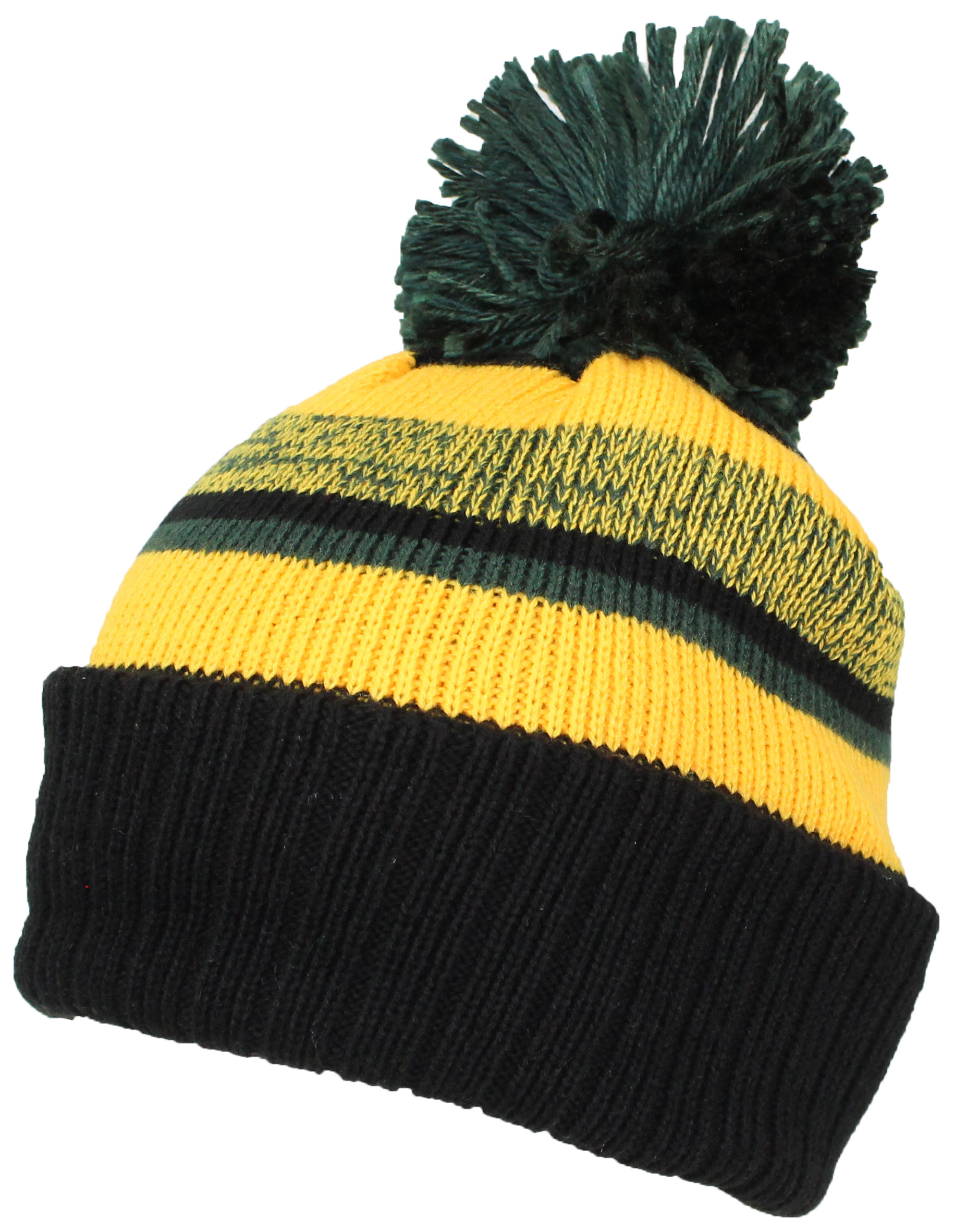 Best Winter Hats Quality Striped Variegated Cuffed Beanie W Pom (L XL) c322e23674c