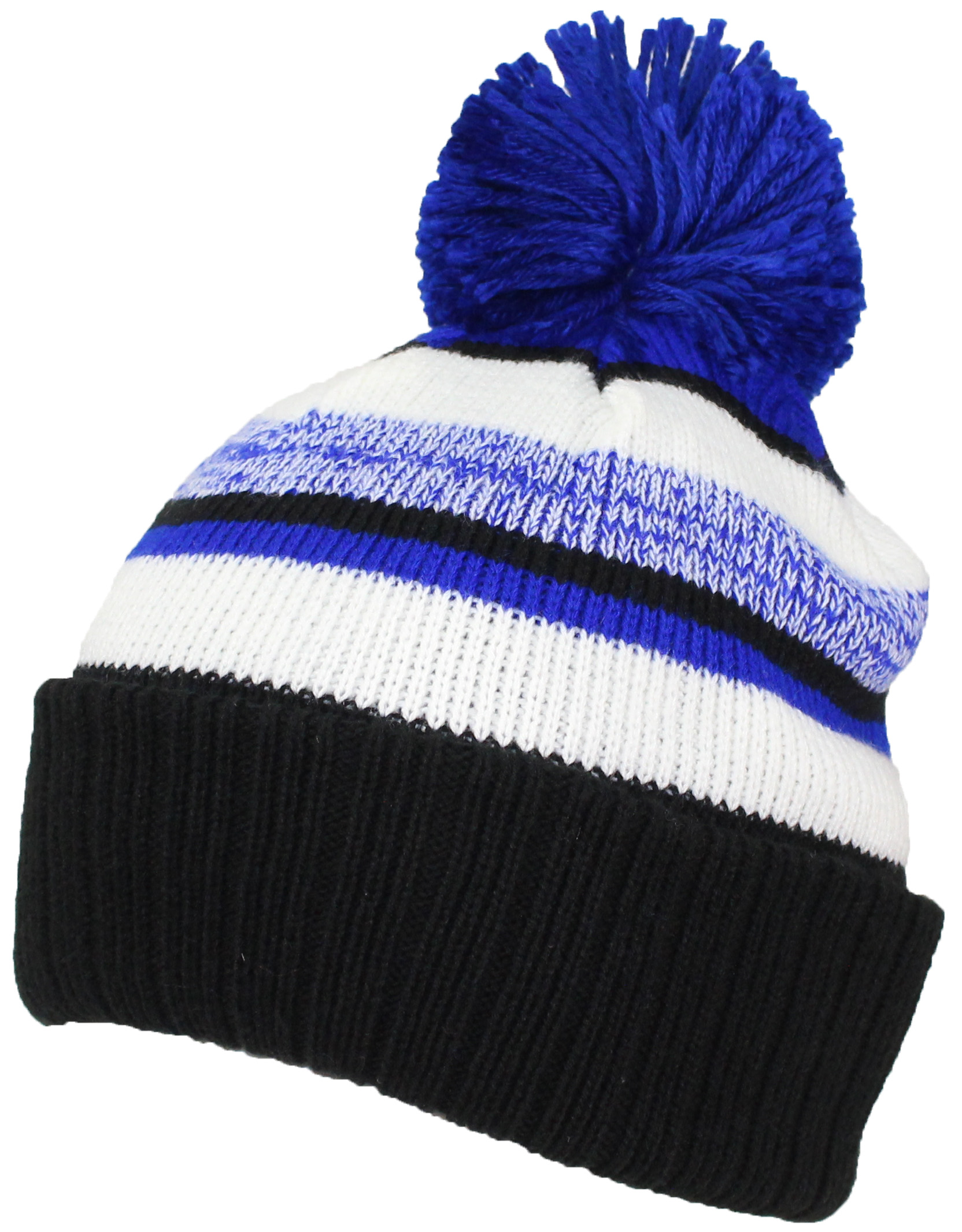 Best Winter Hats Quality Striped Variegated Cuffed Beanie W Pom L Xl 05d2f2fbd