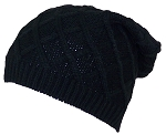 David & Young Rib Stitch Diamond Pattern Slouchy Knit Beanie