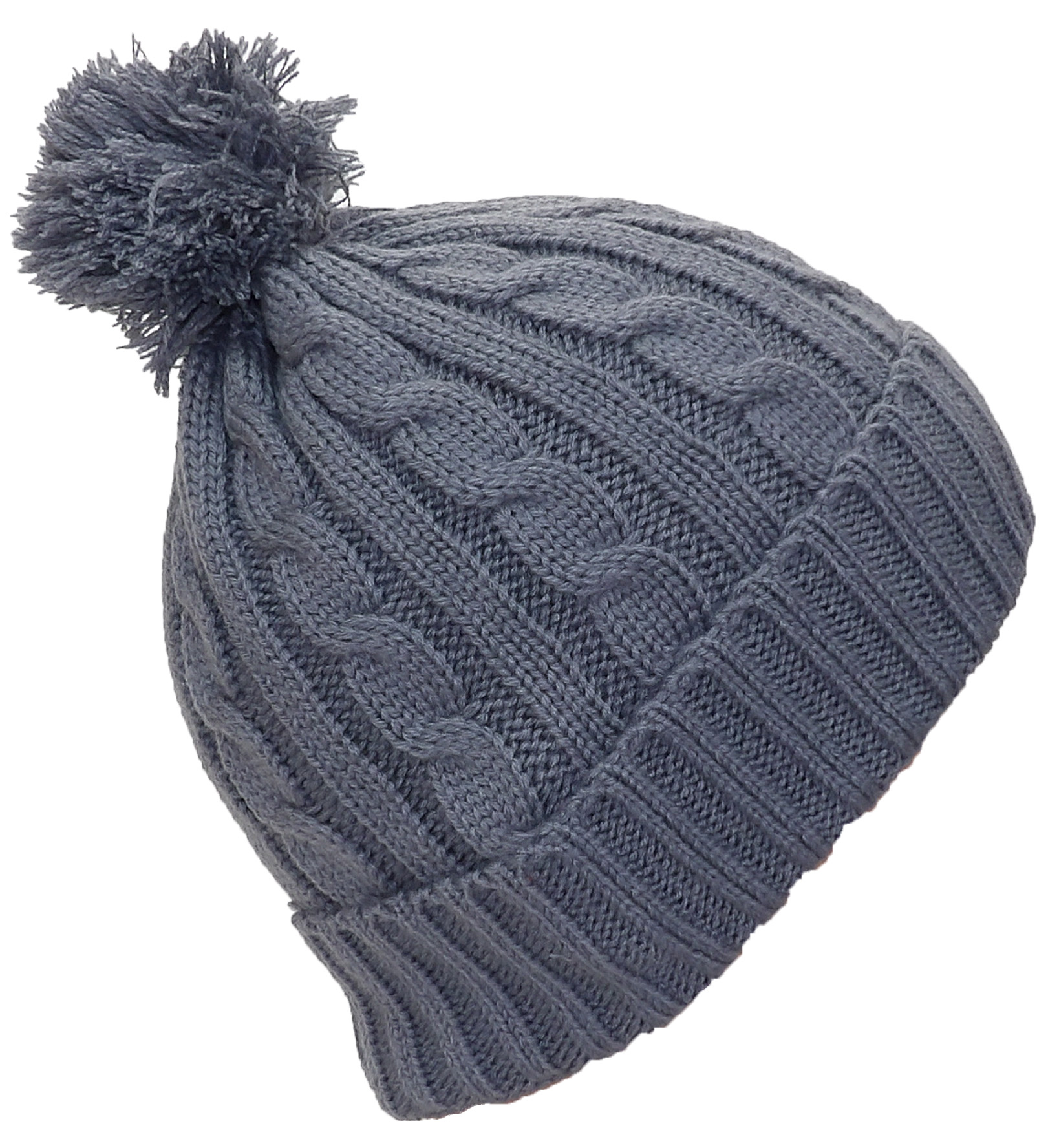 Best Winter Hats Womens Tight Cable Knit Cuffed Cap W Pom 640e30503