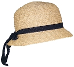 Victoria Womens Natural Raffia Straw Womens Cloche Hat W/Lace Band