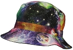 E-Flag Original Adult Reversible Galaxy/Planets Lightweight Cotton Bucket Hat