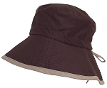 Solid Wing Womens Reversible Summer Floppy Bucket Hat W/Adjustable Pull String