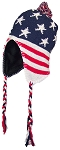 Best Winter Hats Adult Knit Ear Flap Hat W/Pom Pom (One Size) - American Flag
