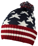 Best Winter Hats American/Americana Flag Cuffed Beanie Cap W/Pom Pom (One Size)