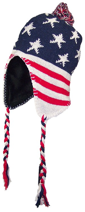 8f46f9f50 Best Winter Hats Adult Knit Ear Flap Hat W/Pom Pom (One Size) - American  Flag