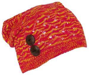 David & Young Womens Loose Knit Variegated Lightweight Skull Cap W/2 Buttons