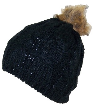 Best Winter Hats Cable & Rib Knit Skull Beanie W/Sequins & Faux Fur Pom Pom