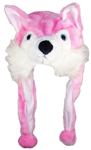 Best Winter Hats Adult/Teen Pink Wolf Animal Character Ear Flap Hat