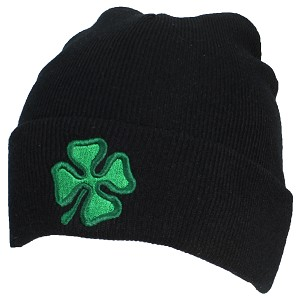 Best Winter Hats Adult Embroidered Green Shamrock/4 Leaf Clover Beanie
