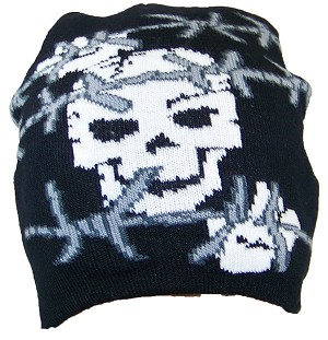 R&M Print Skull with Barb Wire Soft Knit Winter Hat