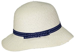 Tropic Hats Womens Cloche Sun Packable Cap W/Dotted Line Band & Bow