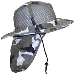 Tropic Hats Summer Wide Brim Mesh Safari/Outback W/Neck Flap & Snap Up Sides