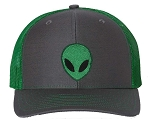 Tropic Hats Embroidered Alien Face 6 Panel Trucker Snapback Cap