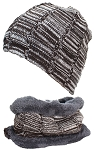 Best Winter Hats Adult Variegated Beanie & Neck Warmer Set W/Faux Fur Liner