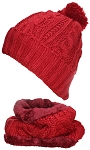 Best Winter Hats Adult Cable & Rib Knit Beanie & Neck Warmer Set, Faux Fur Liner