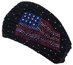 David & Young Womens Tight Rib Knit Headband W/Jeweled American Flag Design