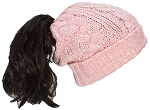 Best Winter Hats Womens Variegated Cable Knit Messy Bun/Ponytail Cuffed Beanie