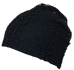 David & Young Womens Crochet Star & Checker Slouchy Cap W/Jersey Lining