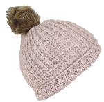 Angela & William Large Rib Knit Cuffed Beanie W/Soft Faux Fur Lining & Pom Pom