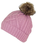 Angela & William Twist Rib Knit Cuffed Beanie W/Soft Faux Fur Lining & Pom Pom