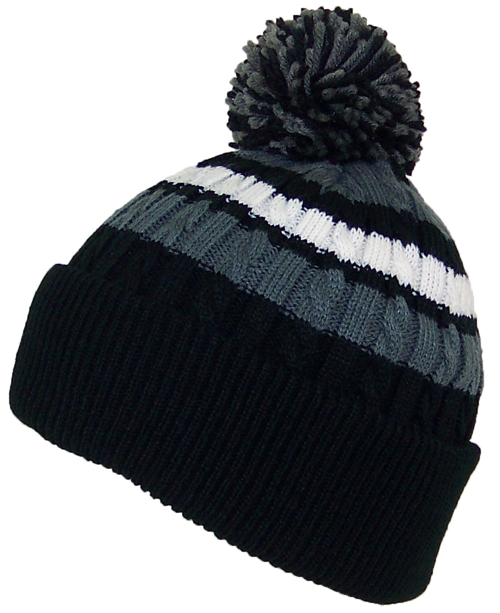 Best Winter Hats Quality Cable Knit Cuffed Winter Hat W/Large Pom Pom (Fits Large Heads)