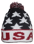 Best Winter Hats Adult Jacquard USA American/Americana Flag Cuffed Beanie W/Pom