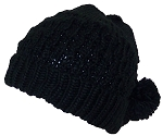 City Hunter Quality Hand Made Rib Knit Cuffed Beanie W/Pom Poms