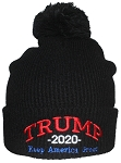 Best Winter Hats Rib Knit Embroidered Trump 2020 Keep America Great Beanie W/Pom