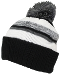 Best Winter Hats Quality Striped Variegated Cuffed Beanie W/Pom (L/XL)
