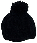 Papillon Hand Knit Solid Color Twist Knit Winter Beret W/Large Pom Pom