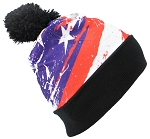 Best Winter Hats American Flag Sublimation Print Cuffed W/Pom Pom
